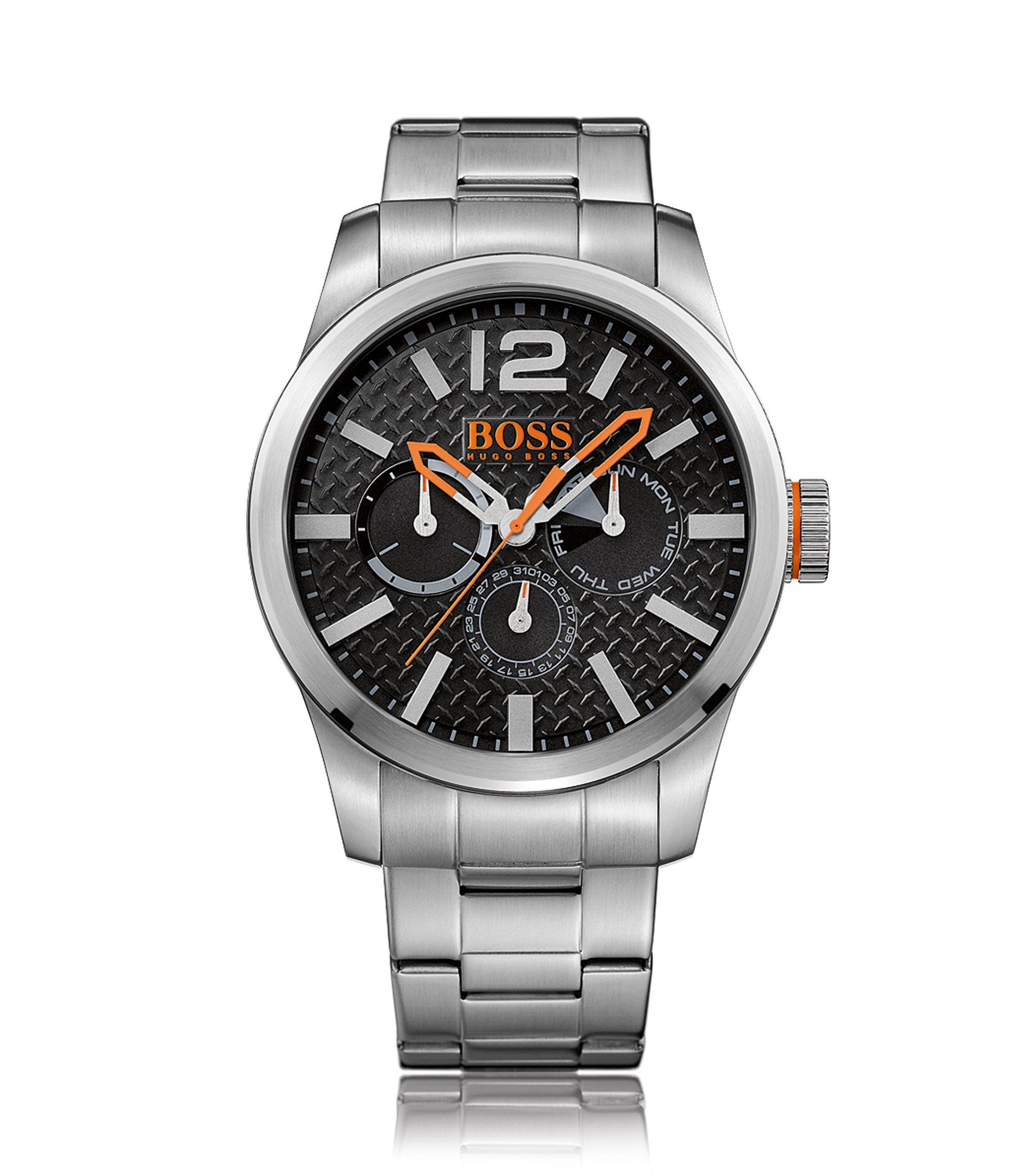 Multi-eye-horloge van geborsteld roestvrij staal met gestructureerde wijzerplaat en armband, Zilver
