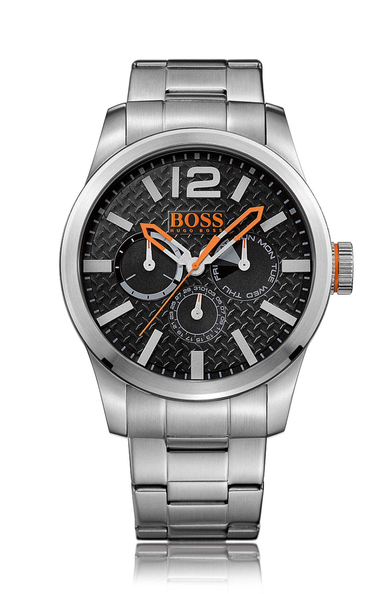 Reloj de acero inoxidable cepillado con varios indicadores, pulsera y esfera con textura