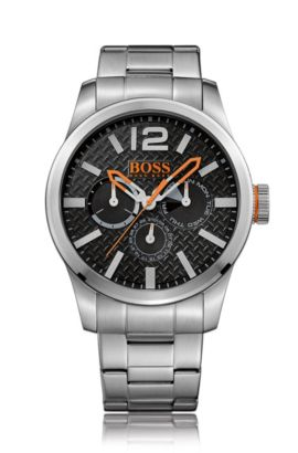 Brushed stainless-steel multi-eye watch with textured dial and linked bracelet, Silver