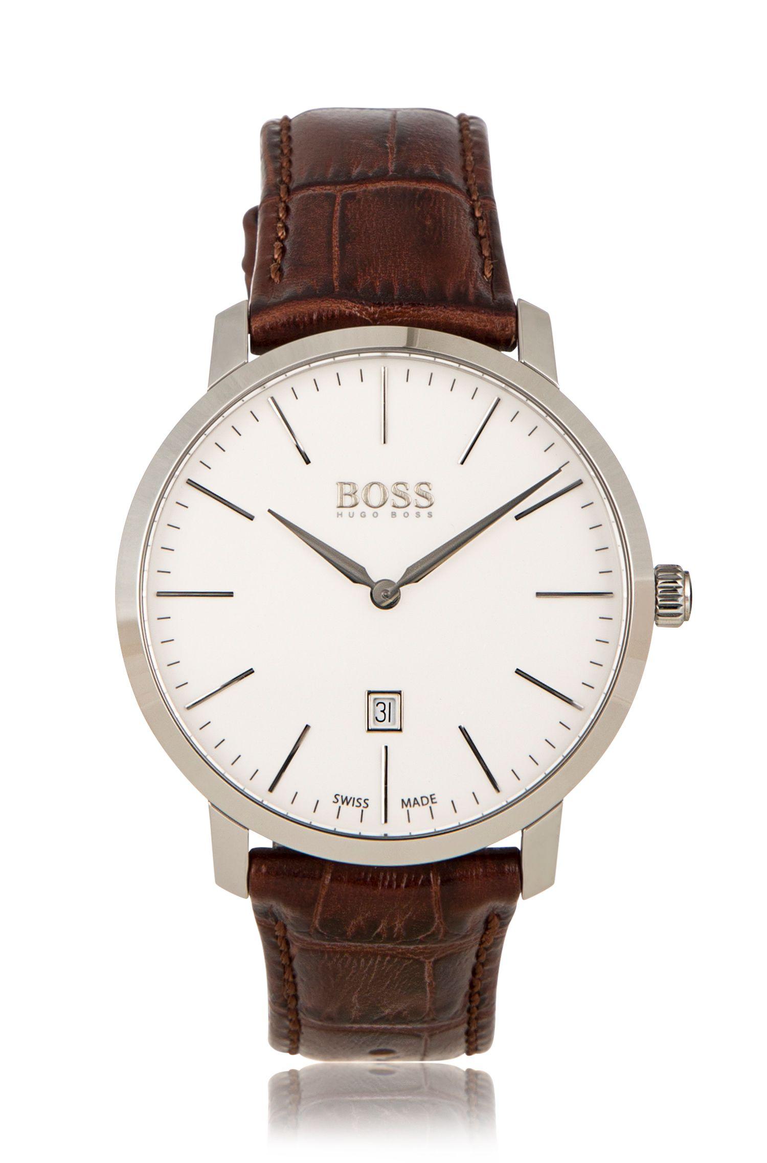 Montre-bracelet en acier inoxydable pourvue d'un bracelet en cuir: «Signature Timepiece»