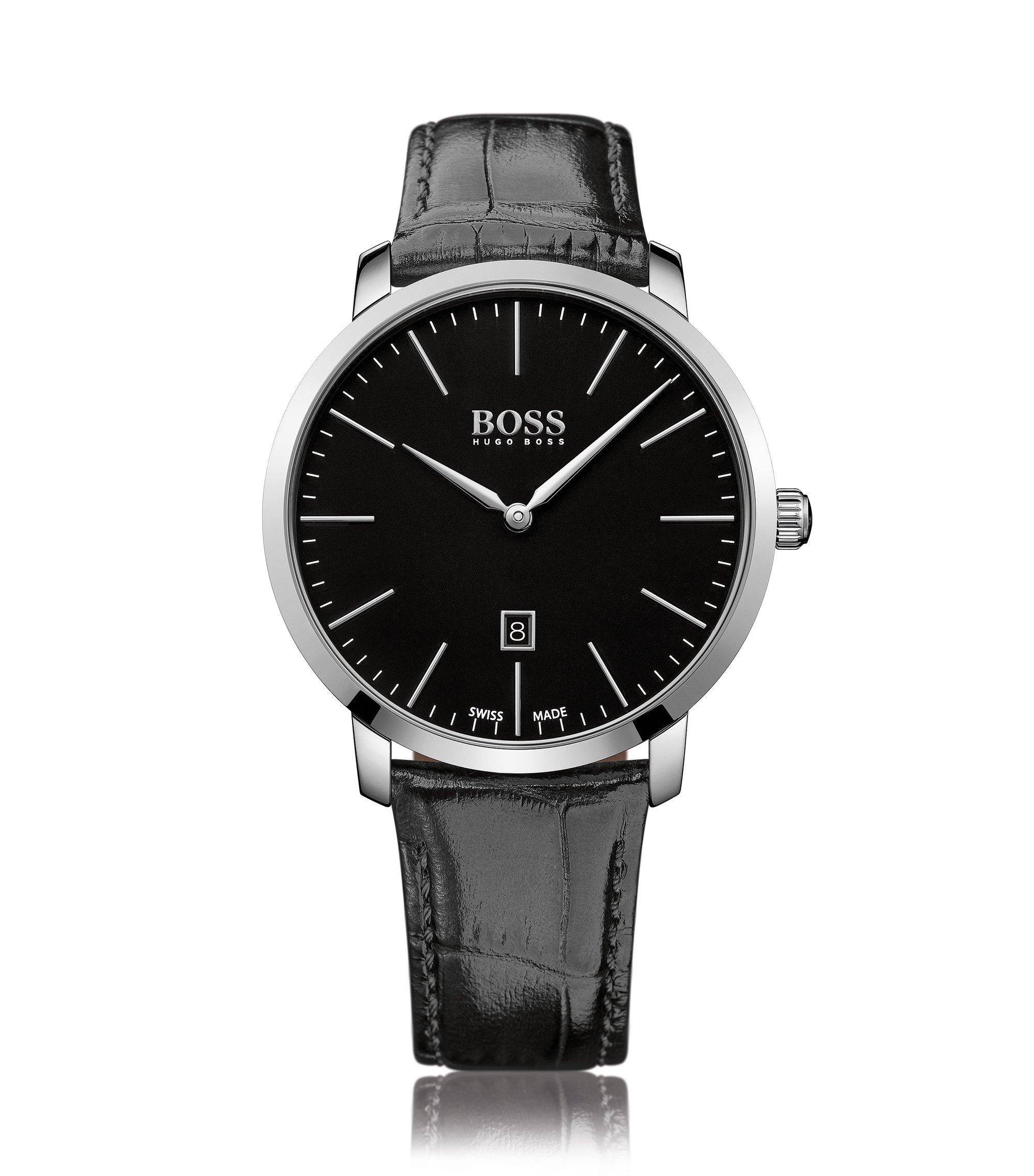 Uhr aus poliertem Edelstahl mit Saphirkristall, Schwarz