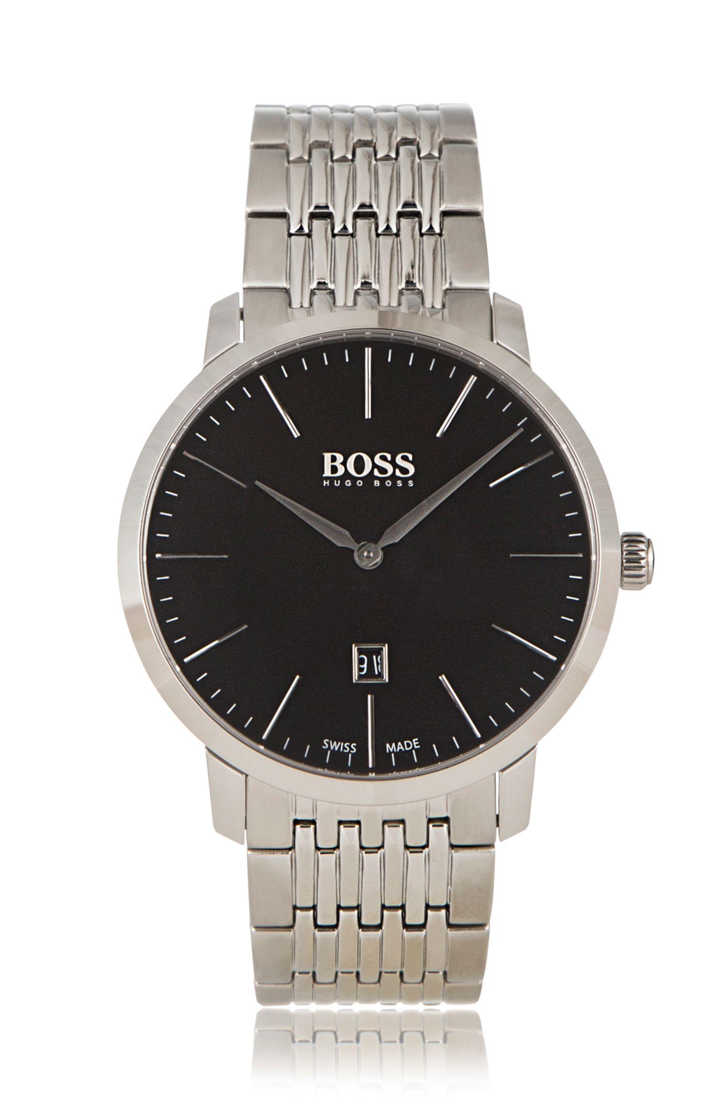 Horloge van roestvrij staal met twee wijzers en schakelband: 'Signature Timepiece'