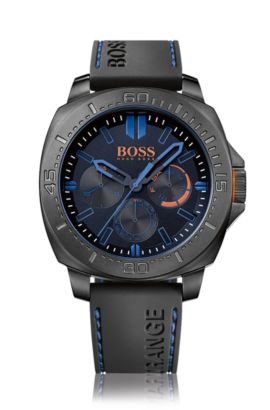 Multieye-Uhr mit geschwärztem Edelstahlgehäuse: 'HO7020', Blau