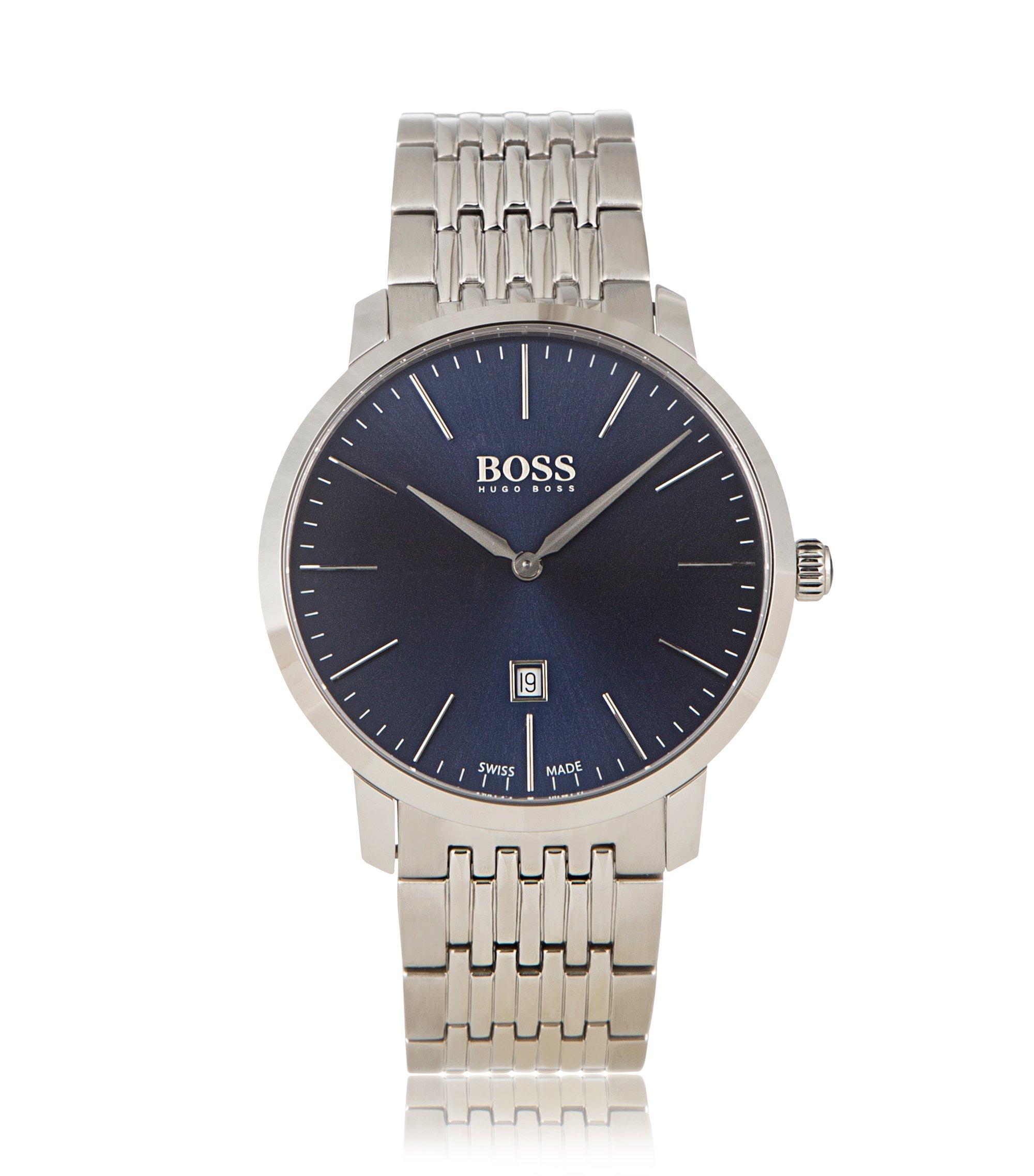 Armbanduhr aus Edelstahl mit Gliederarmband: 'Signature Timepiece', Silber
