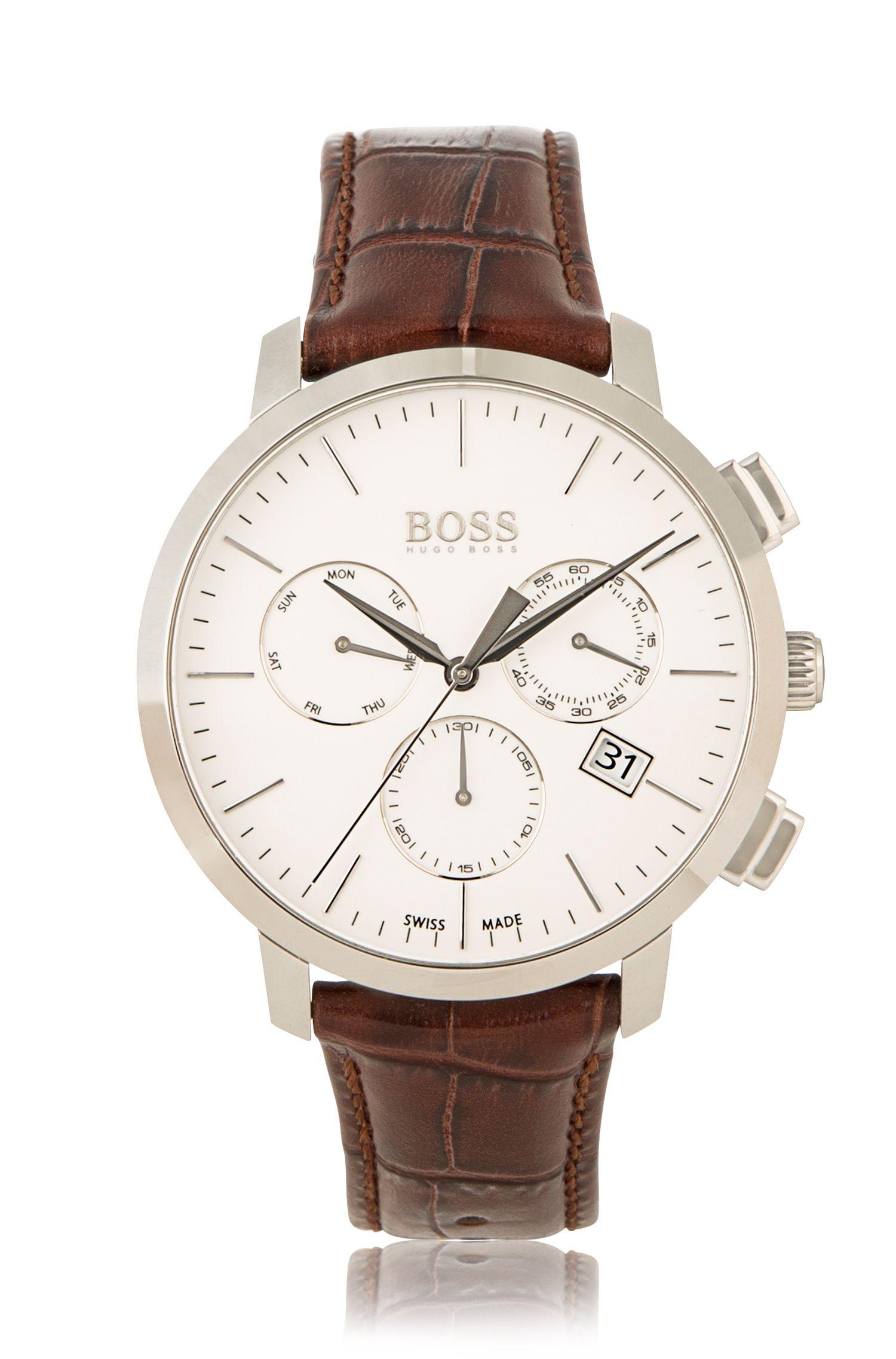 Cronografo con cassa in acciaio inox e cinturino in pelle stampata: 'Signature Timepiece'