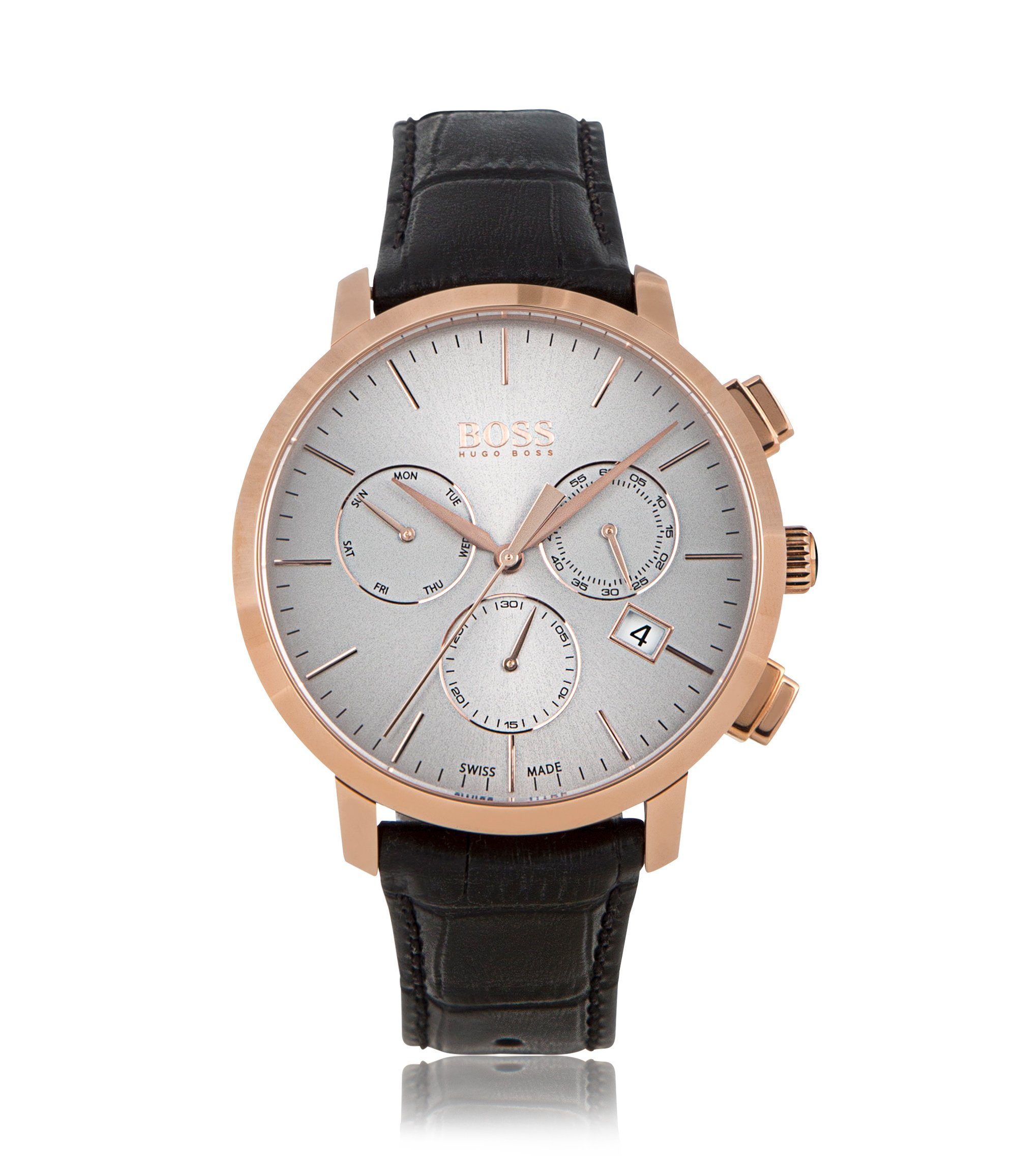 Rose-gold-plated three-eye chronograph watch with leather strap, Grey