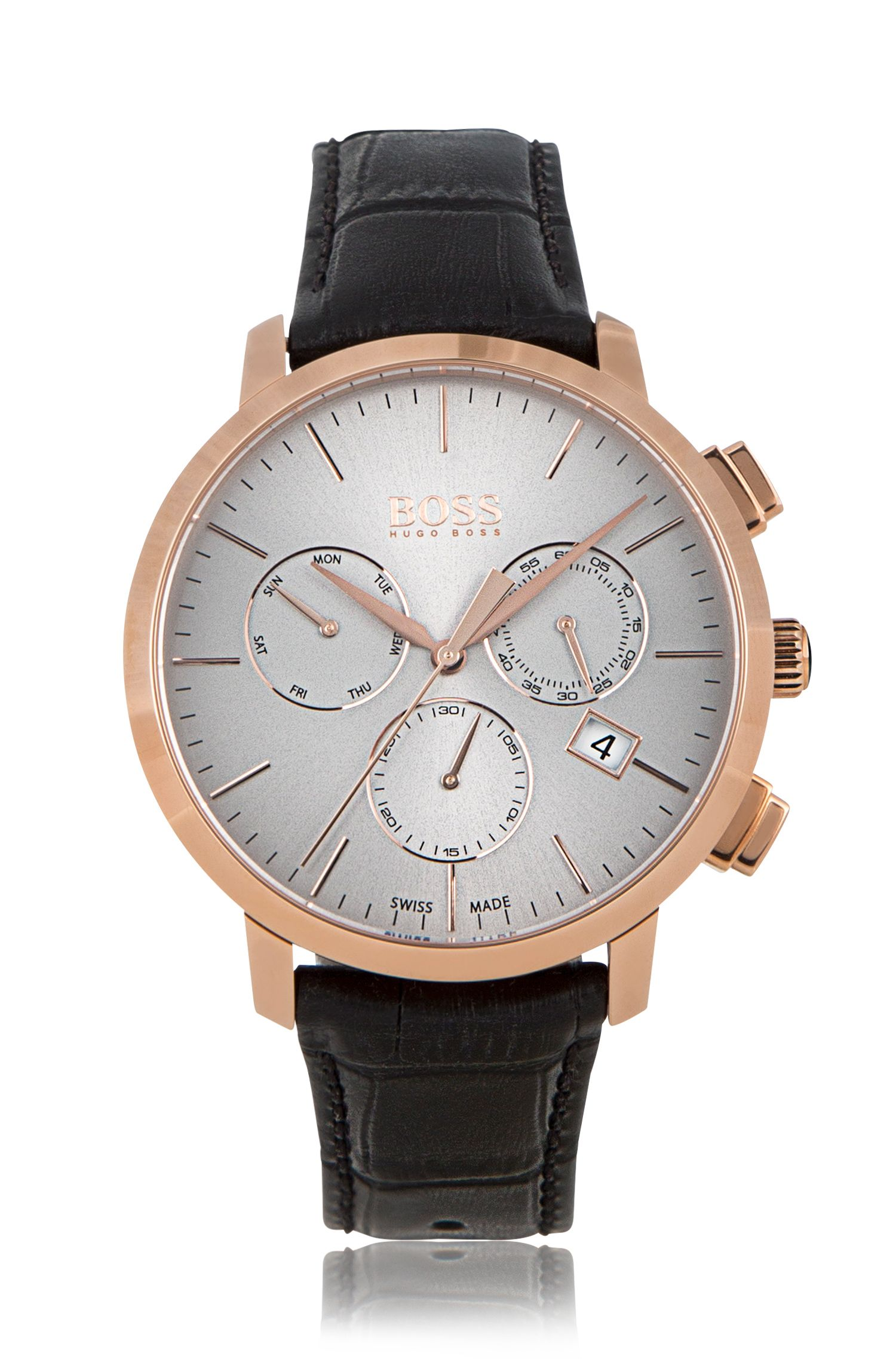 Rose-gold-plated three-eye chronograph watch with leather strap