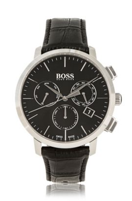 Three-hand watch in polished stainless steel, Black