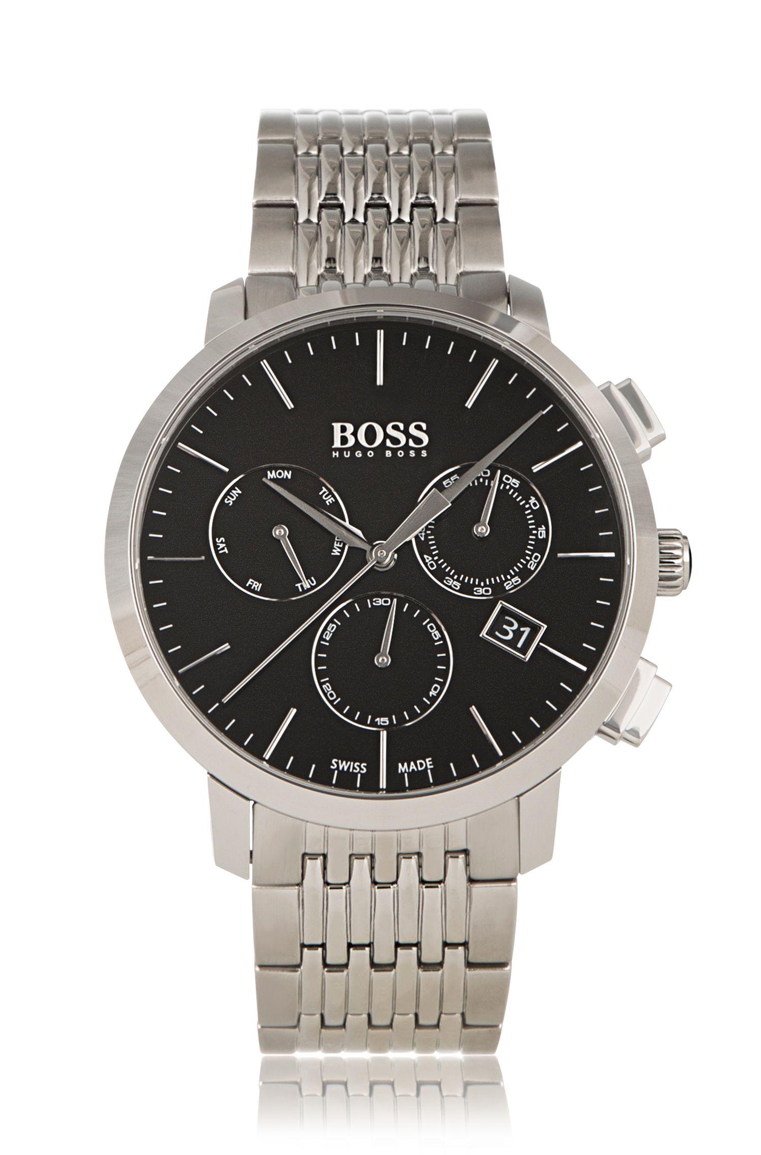 Chronograaf van roestvrij staal met schakelband: 'Signature Timepiece'