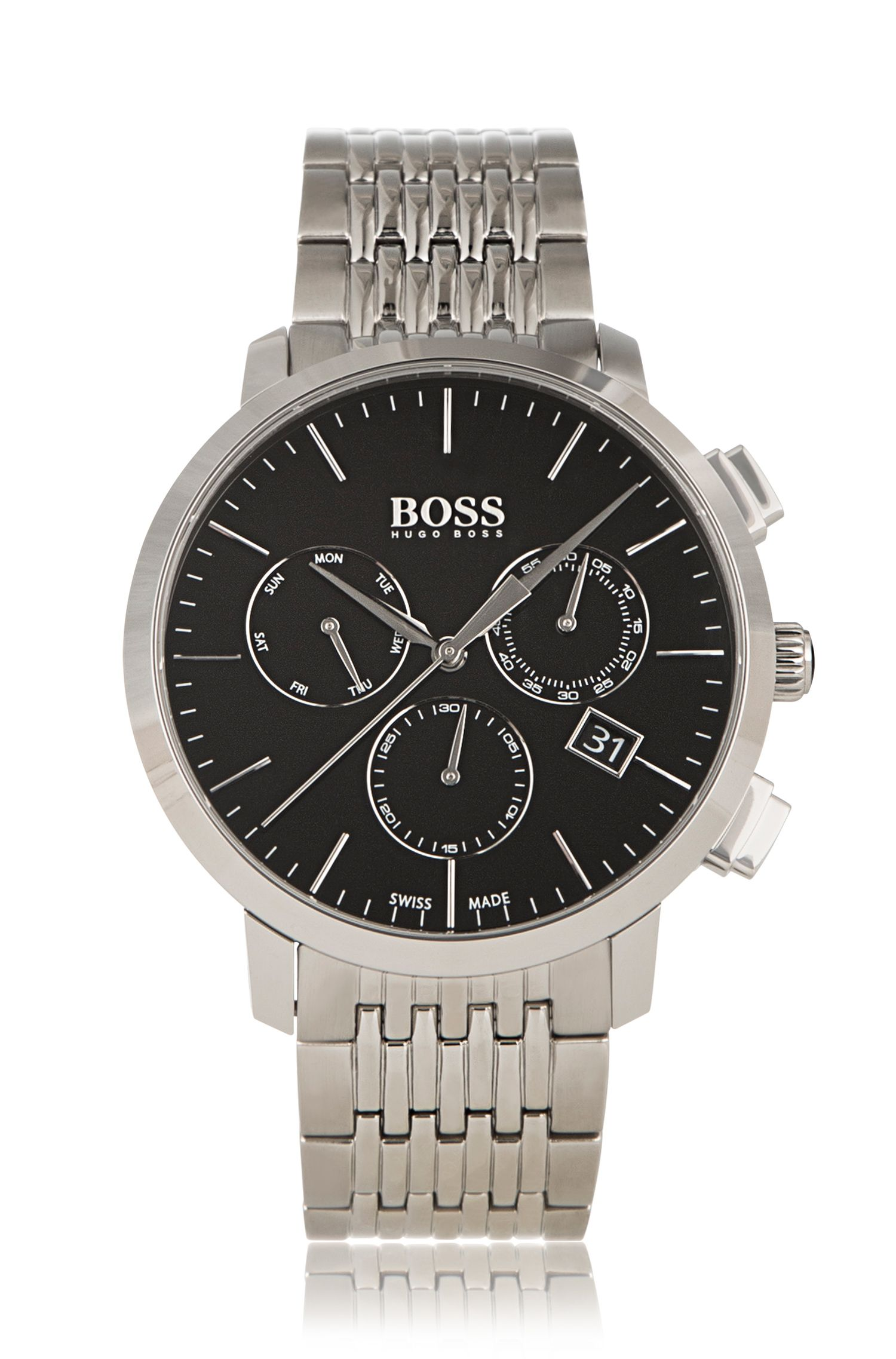 Three-hand chronograph watch in grey-plated stainless steel