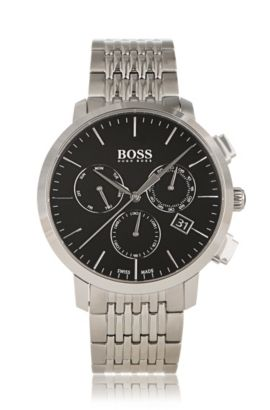 Three-hand chronograph watch in grey-plated stainless steel, Grey