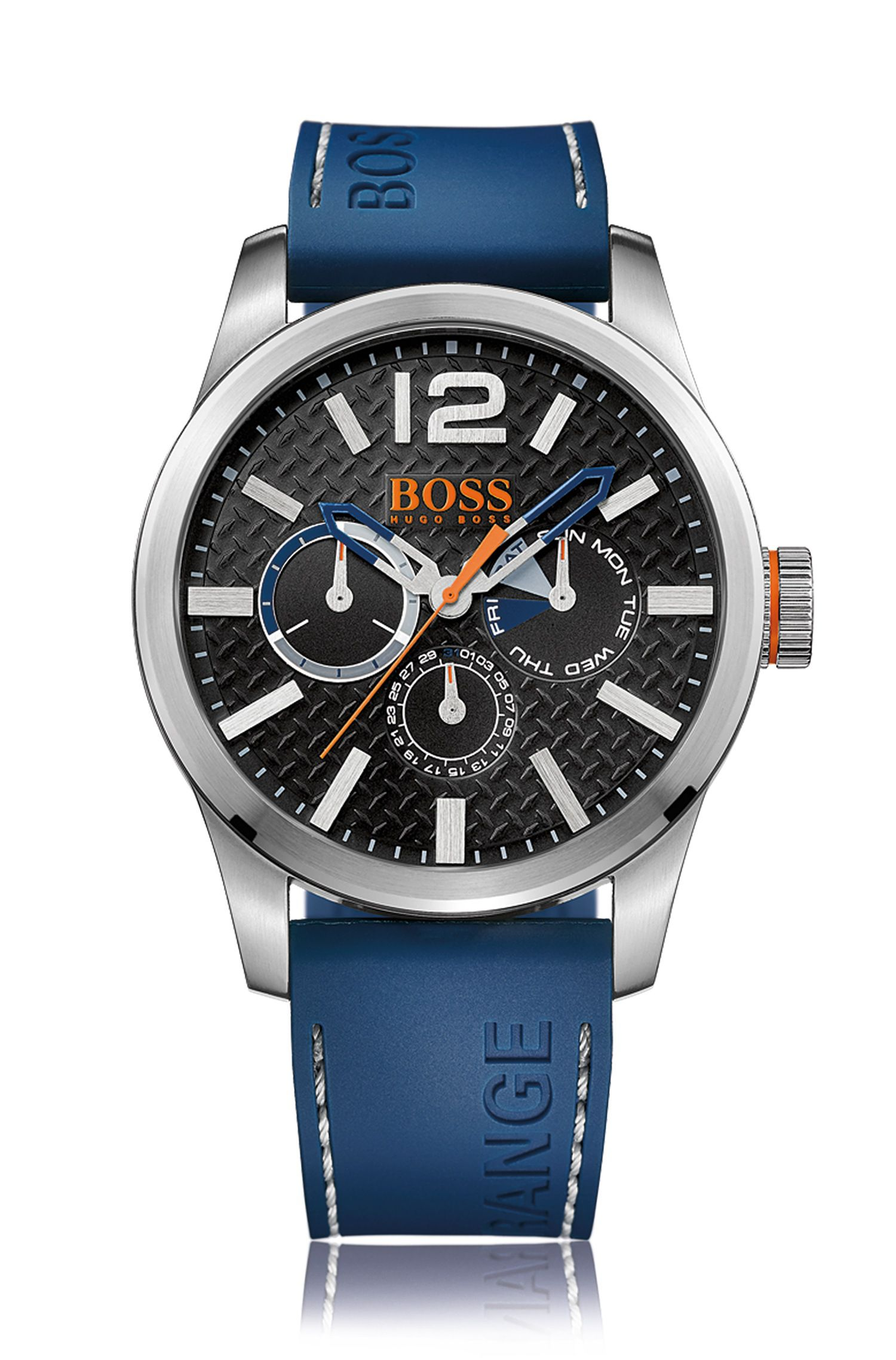 Reloj de acero inoxidable cepillado con varios indicadores, correa azul de silicona y esfera con textura