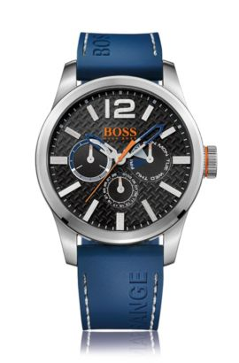 Multi-eye-horloge van geborsteld roestvrij staal met gestructureerde wijzerplaat en blauwe polsband van siliconen, Zwart