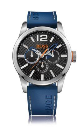 Reloj de acero inoxidable cepillado con varios indicadores, correa azul de silicona y esfera con textura, Negro