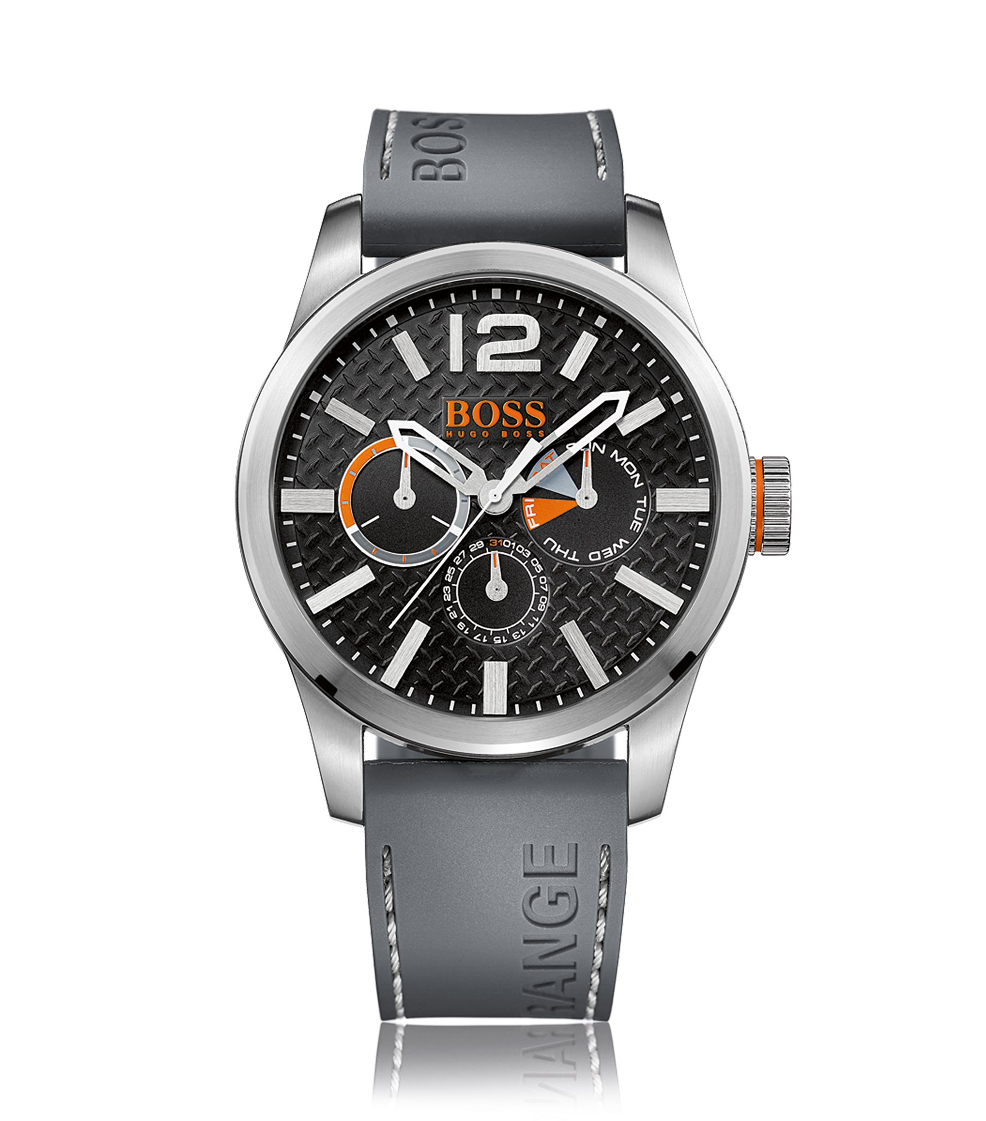 Brushed stainless-steel multi-eye watch with textured dial and grey silicone strap, Grey