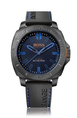 Armbanduhr mit geschwärztem Edelstahlgehäuse: 'HOSAOPO', Schwarz