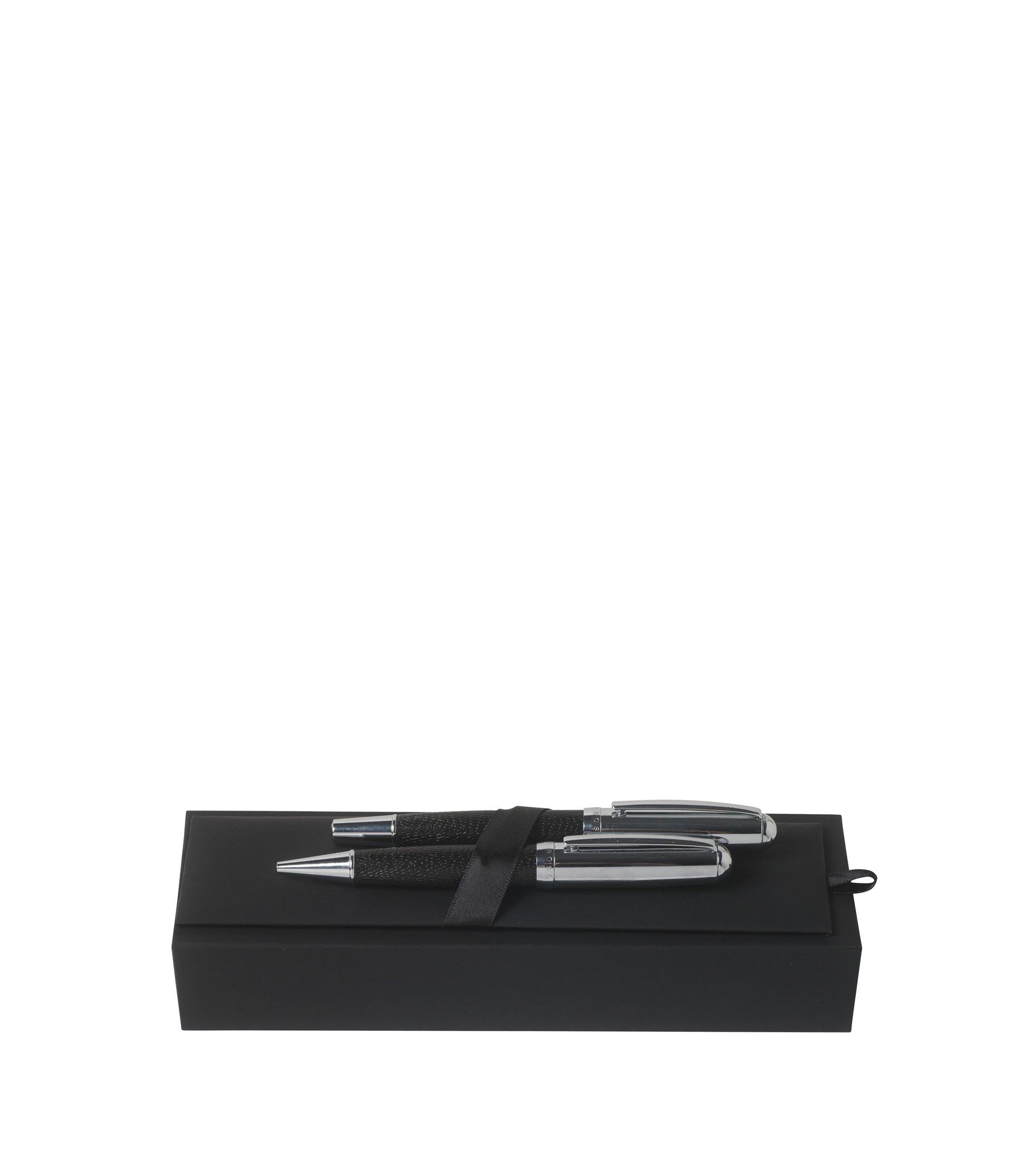 Geschenk-Set mit Kugelschreiber und Tintenroller aus chrombeschichtetem Messing und Leder, Schwarz