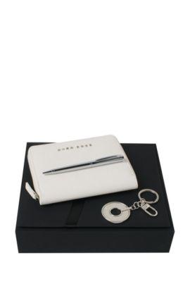 Parure de bureau ornée de détails en cuir et métal: «Saffiano», Beige