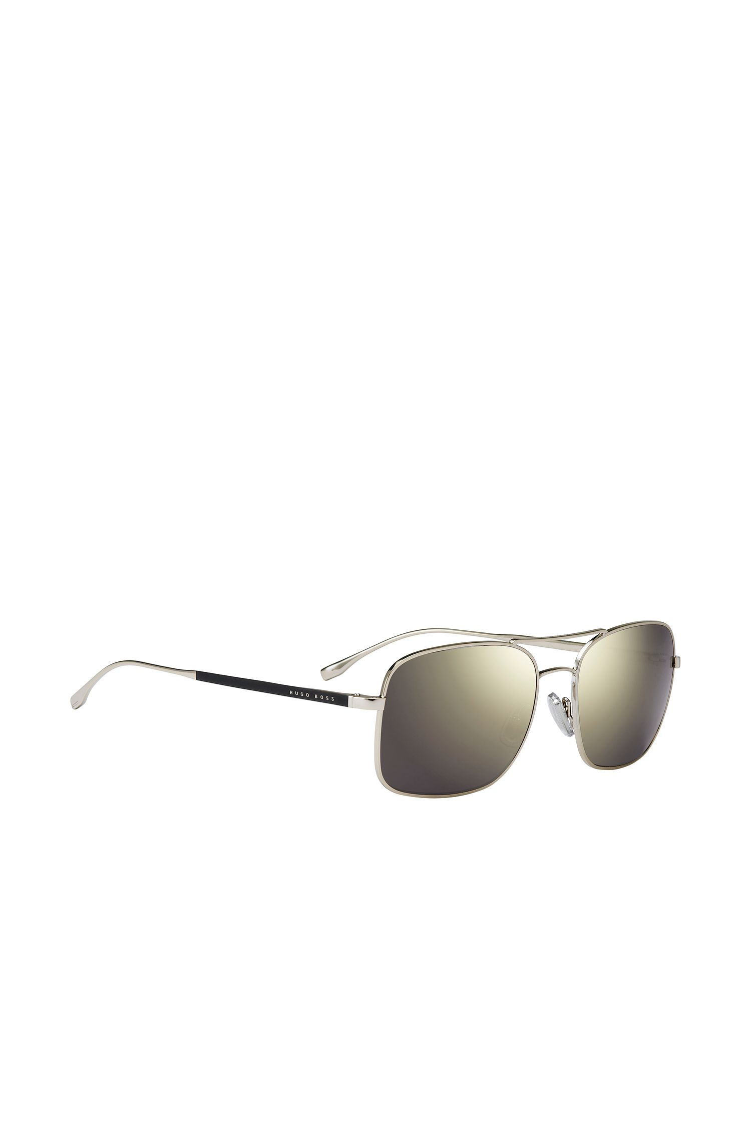 Angular sunglasses with narrow metal frames in gold effect: 'BOSS 0781/S'