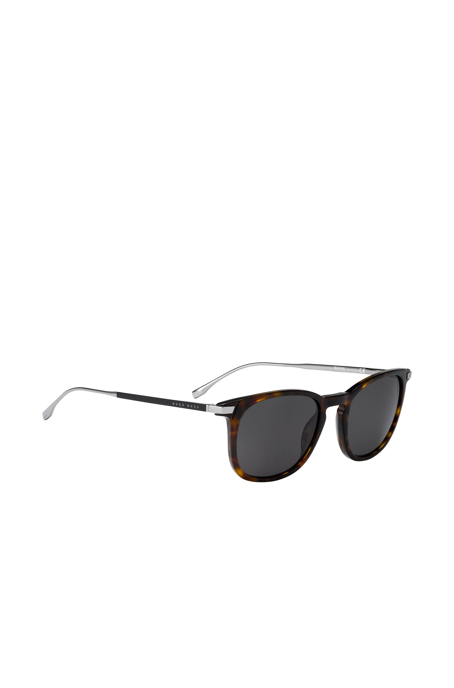 Black sunglasses with distinctive, angular fully rimmed frames: 'BOSS 0783/S'