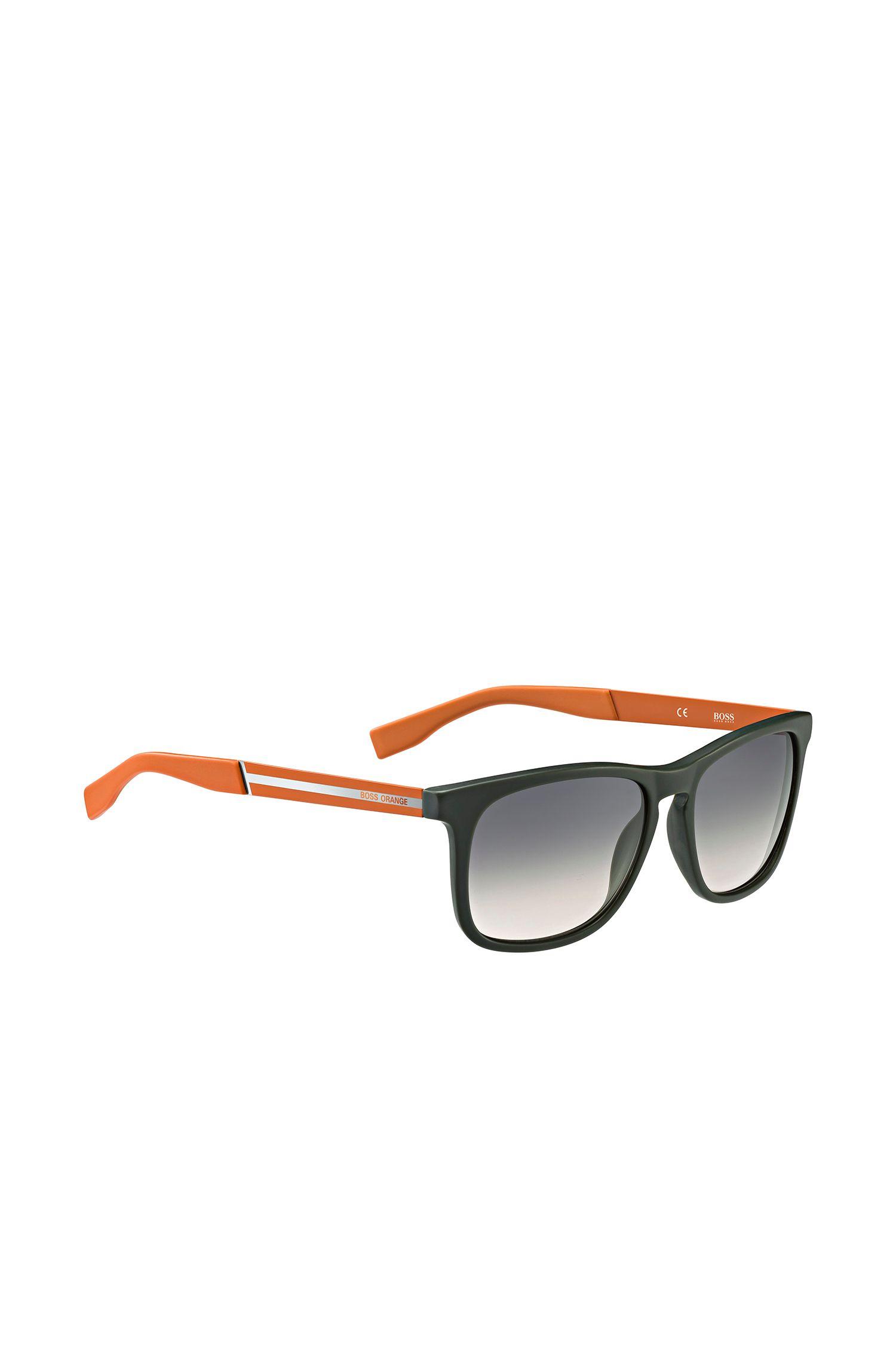 Sonnenbrille mit rechteckiger Kunststofffassung in Khaki und Orange: 'BO 0245/S'