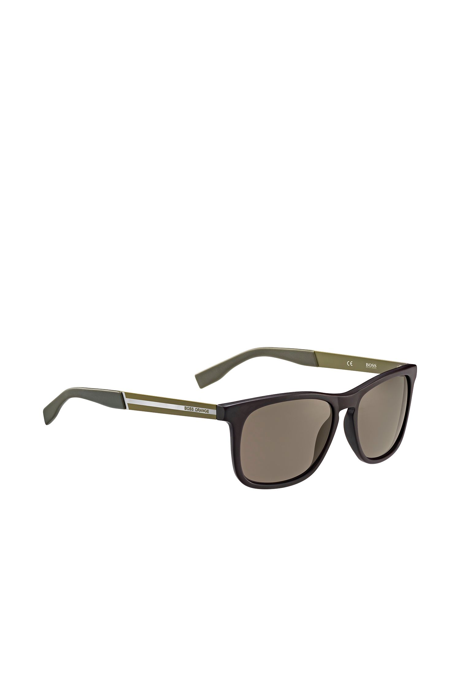 Sunglasses with rectangular synthetic frames in brown and green: 'BO 0245/S'