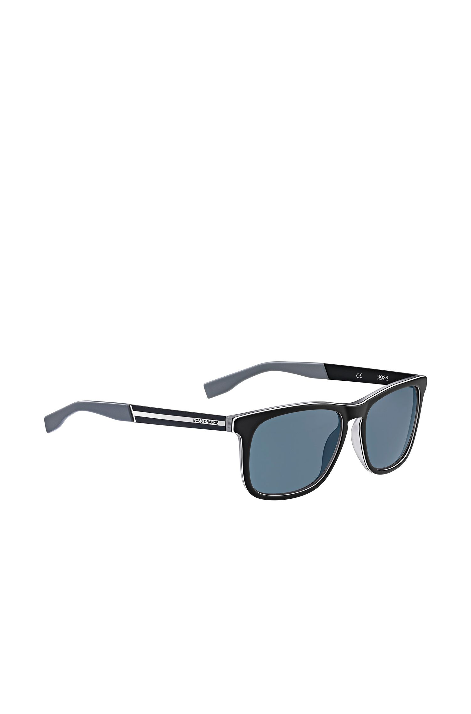 Zwarte zonnebril met rechthoekig montuur van kunststof: 'BO 0245/S'