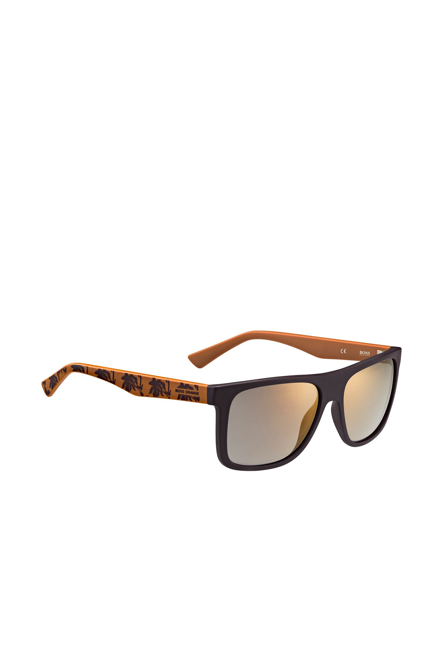 Dark brown sunglasses with patterned temples: 'BO 0235/S'