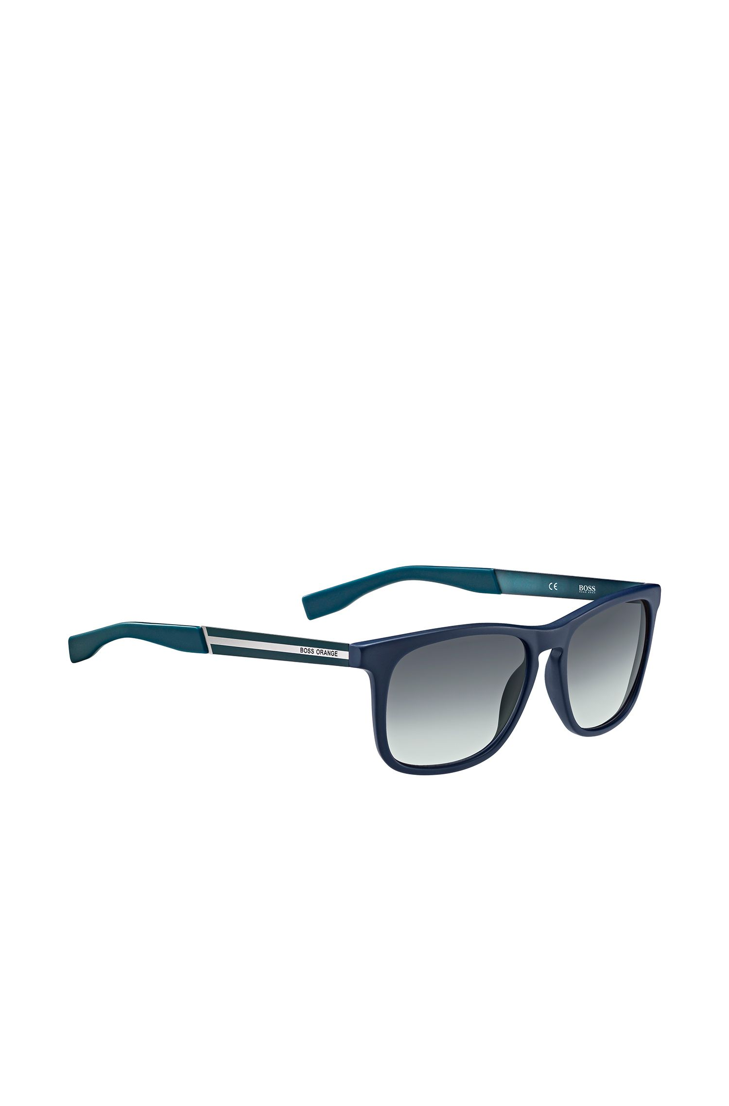 Blue sunglasses with rectangular synthetic frames: 'BO 0245/S'