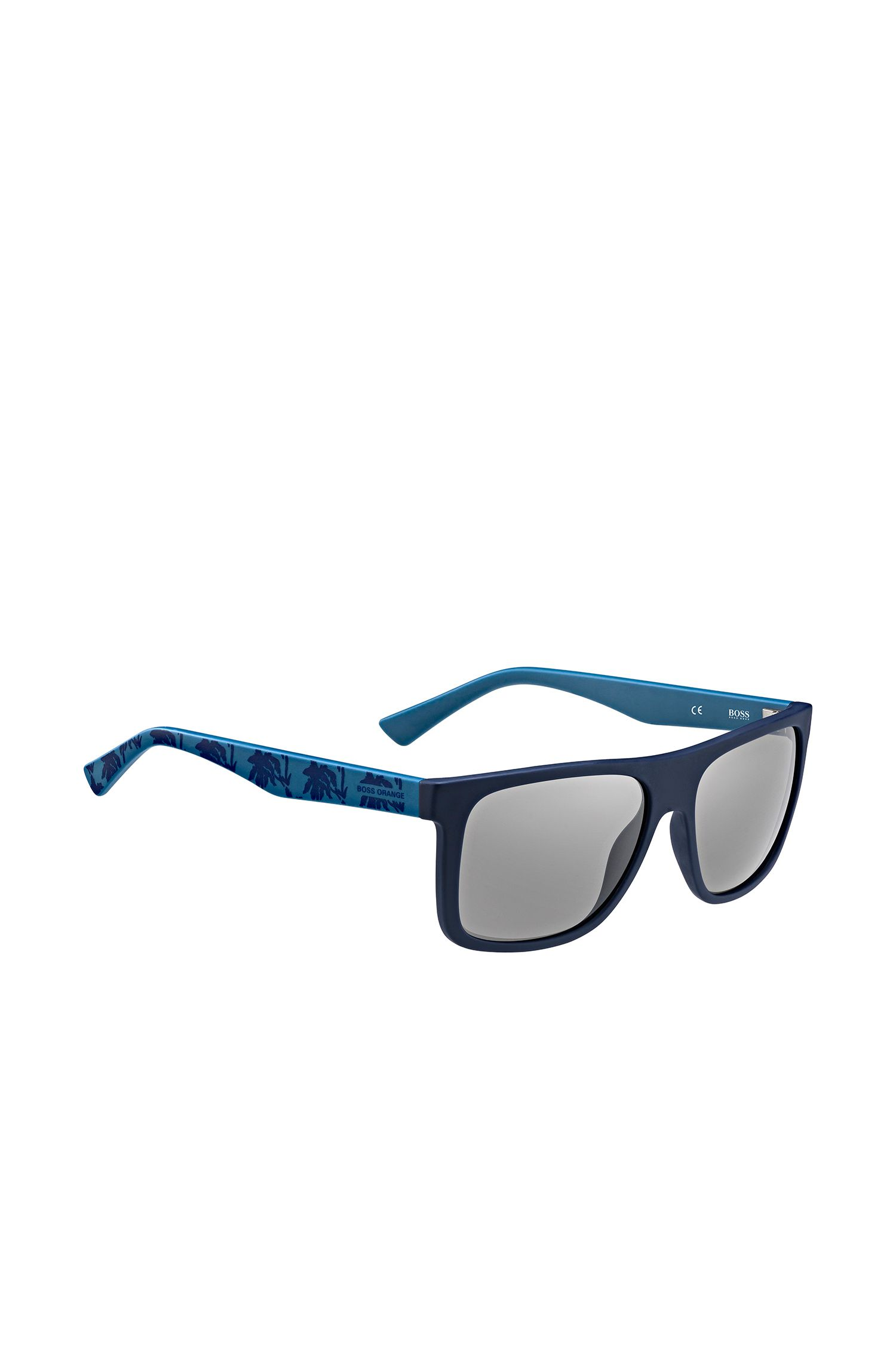 Blue sunglasses with patterned temples: 'BO 0235/S'
