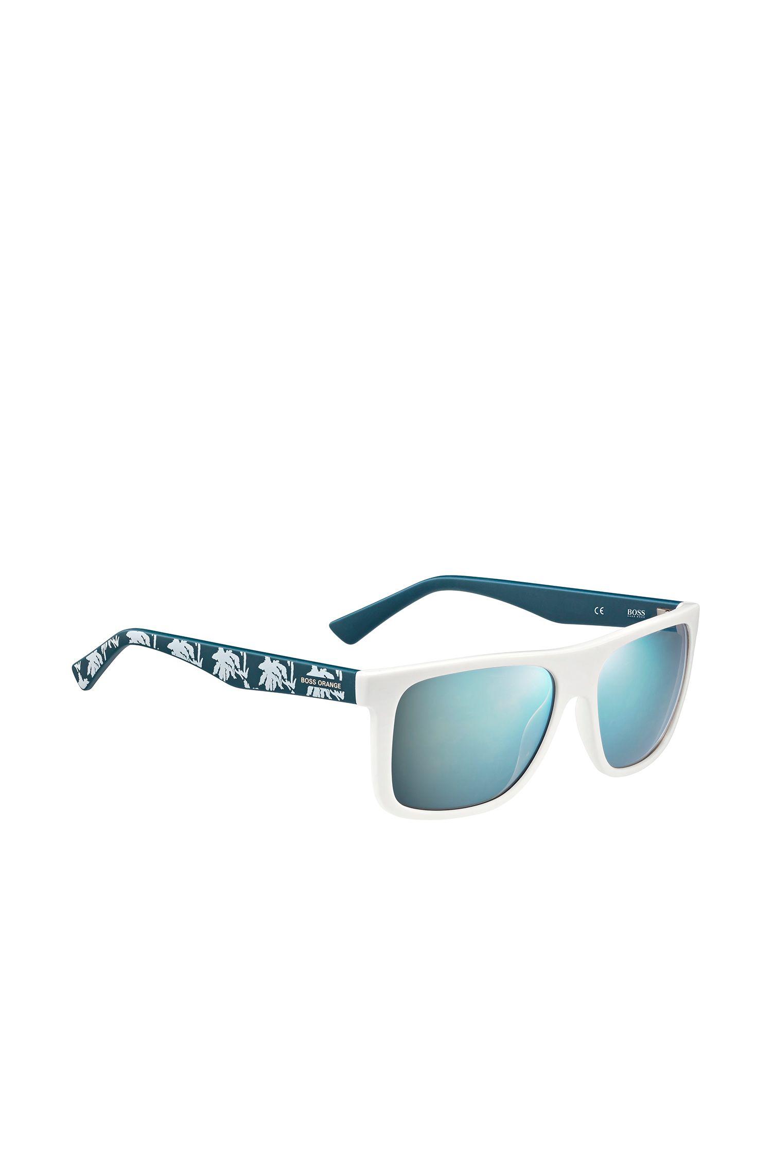 Sonnenbrille mit gemusterten Bügeln in Weiß und Petrol: 'BO 0235/S'