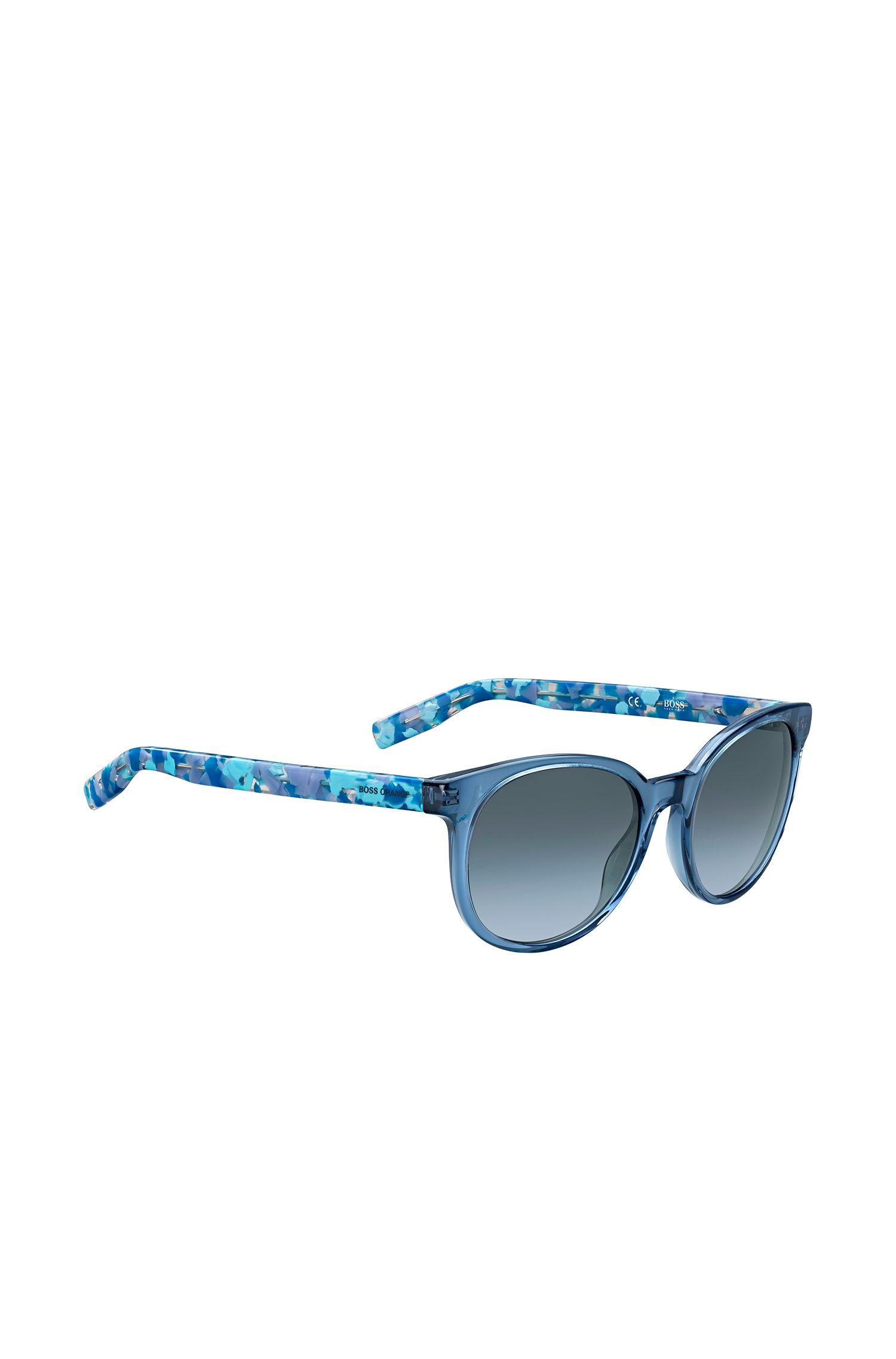 Occhiali da sole blu con lenti sfumate e stanghette a disegni: 'BO 0256/S'