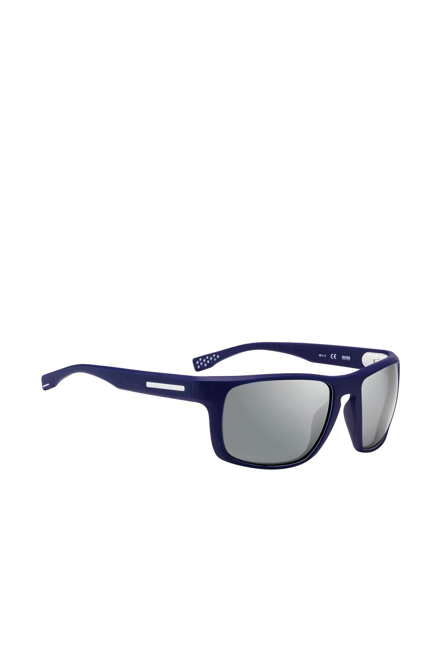 Donkerblauwe zonnebril met rechthoekig, volledig montuur: 'BOSS 0800/S'