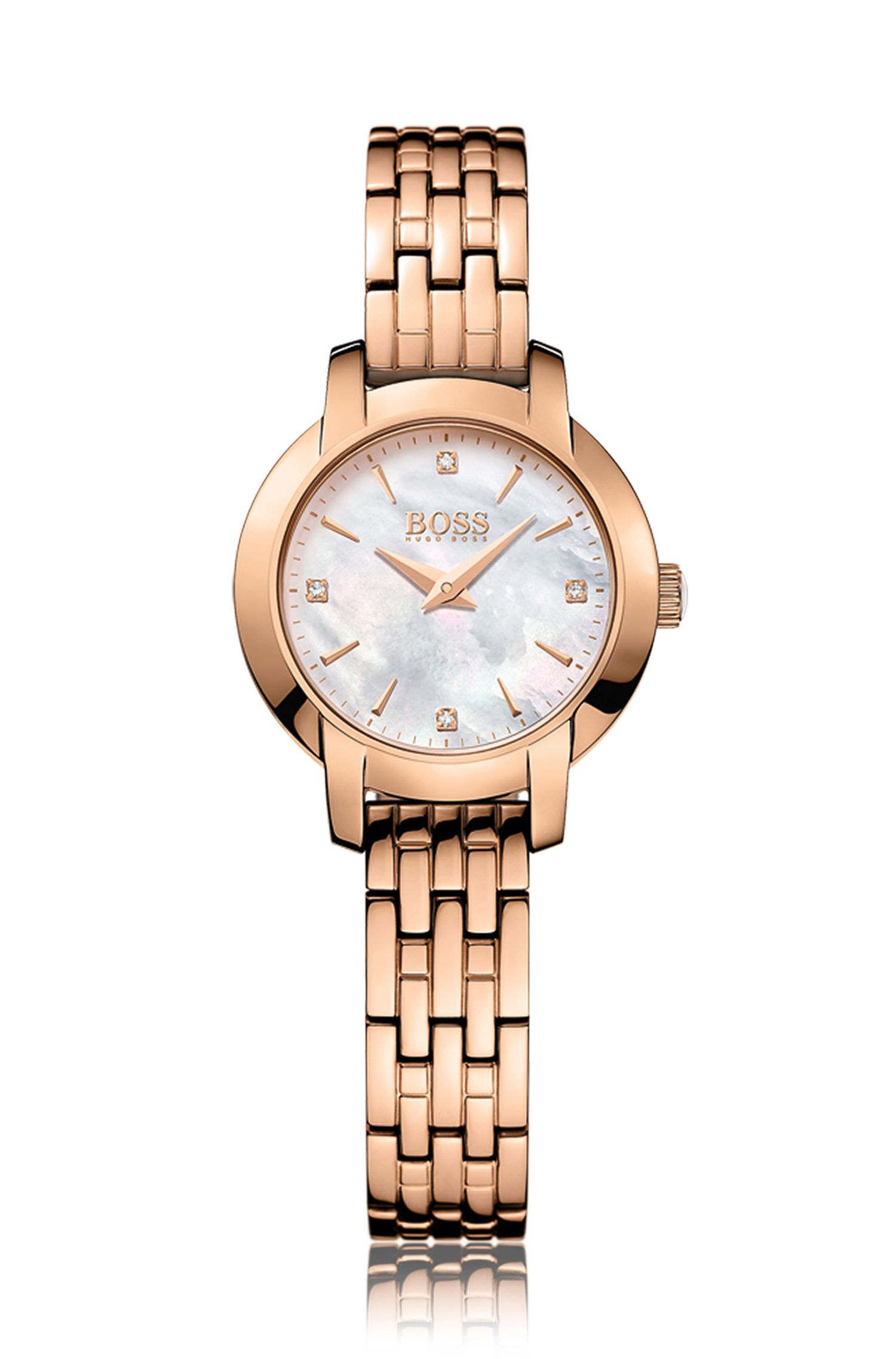 Rose-gold-plated two-hand watch with mother-of-pearl dial