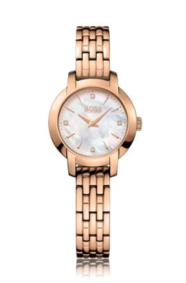 Rose-gold-plated two-hand watch with mother-of-pearl dial, Gold