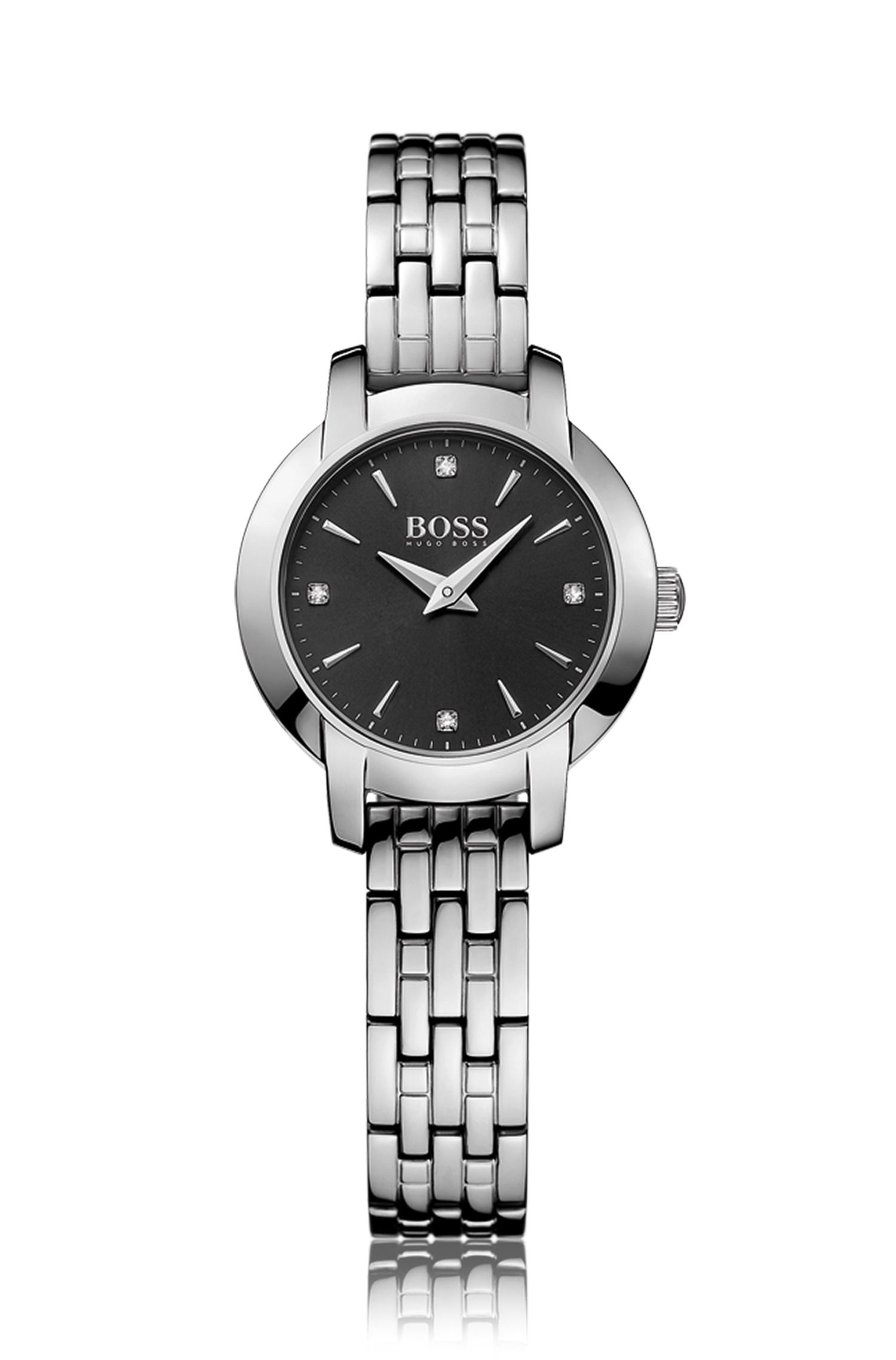 Polished stainless-steel watch with black sunray dial