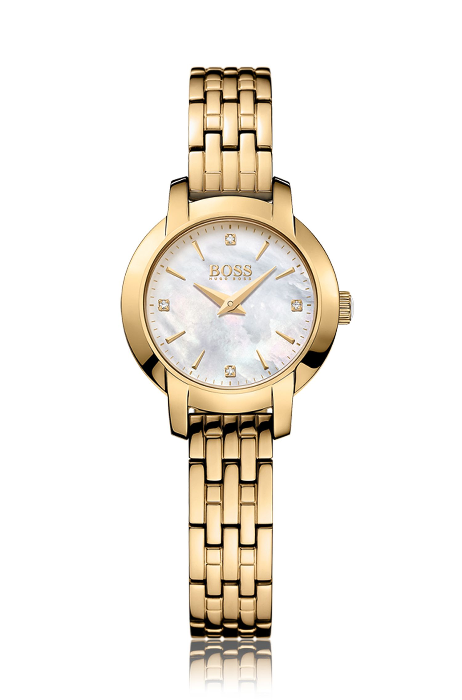 Gold-plated two-hand watch with mother-of-pearl dial