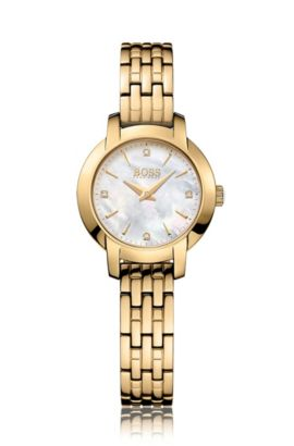 Gold-plated two-hand watch with mother-of-pearl dial, Assorted-Pre-Pack
