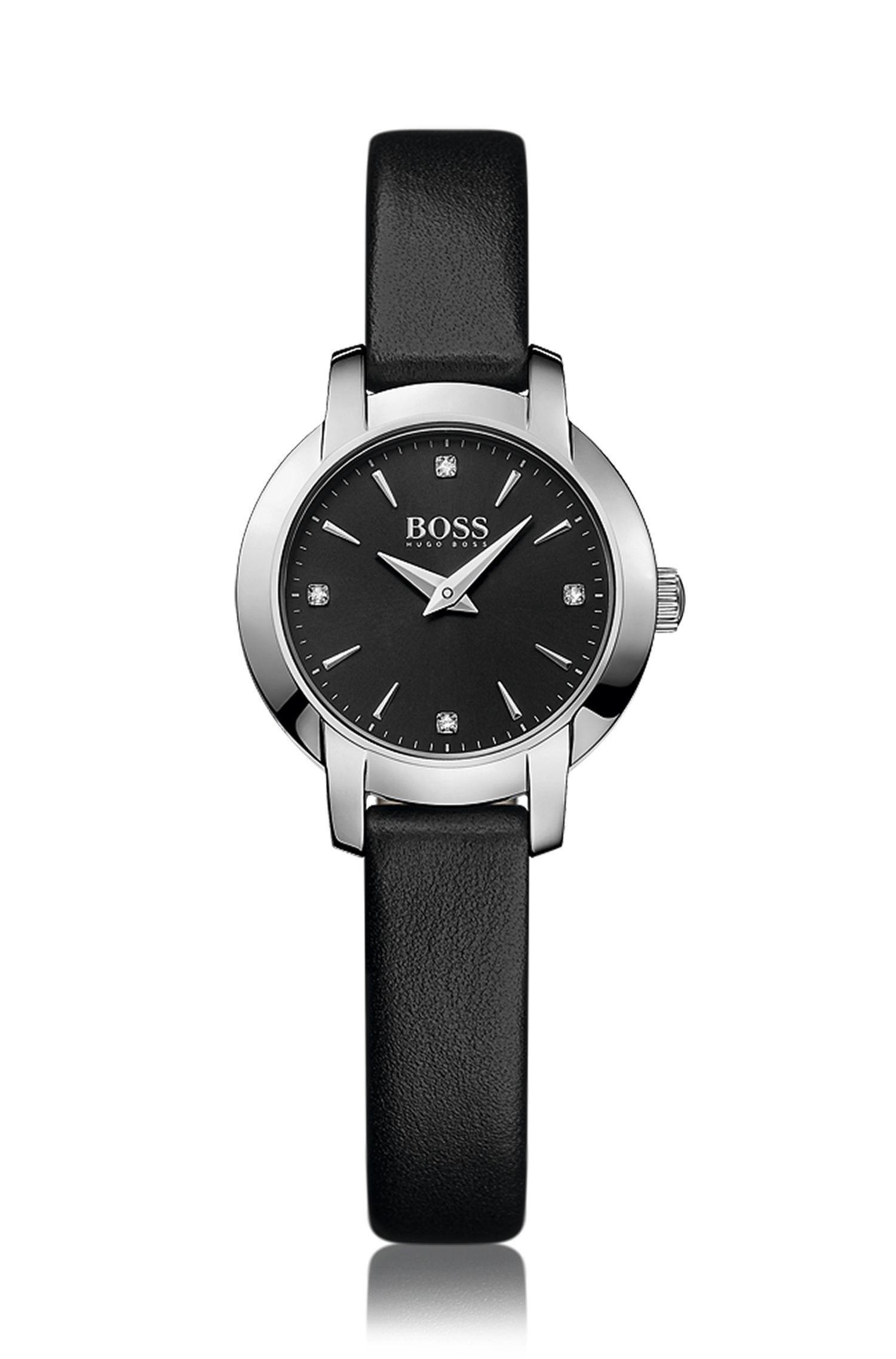 Montre en acier inoxydable à cadran noir soleillé et bracelet en cuir