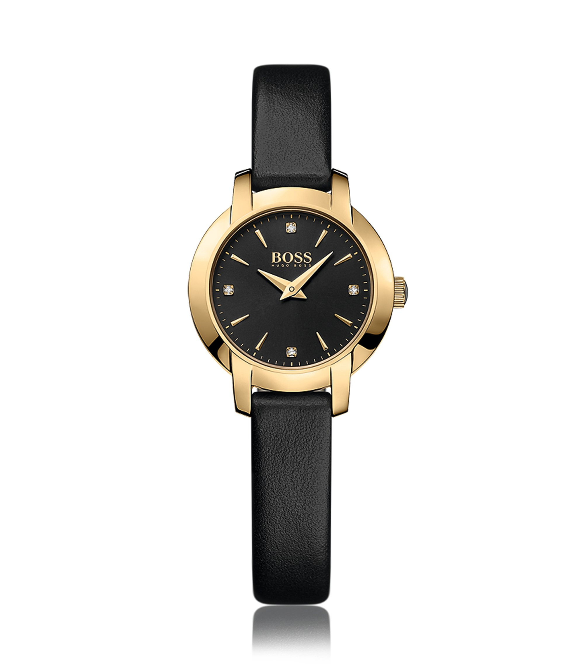 Gold-plated two-hand watch with a black sunray dial and leather strap, Assorted-Pre-Pack