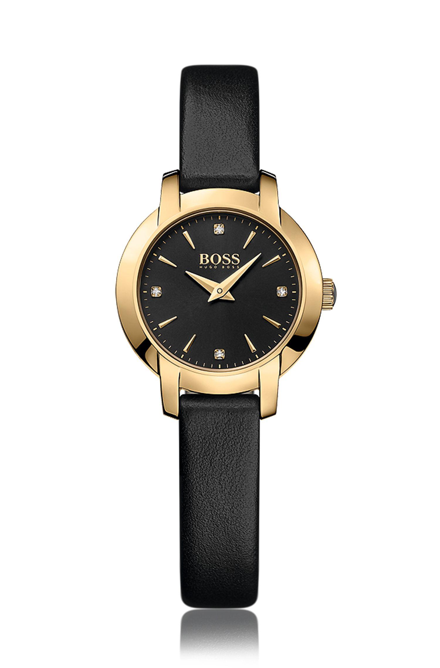 Horloge met twee wijzers, goudcoating, zwarte sunray-wijzerplaat en leren polsband