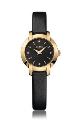 Montre plaquée or à deux aiguilles, avec cadran noir soleillé et bracelet en cuir, Assorted-Pre-Pack