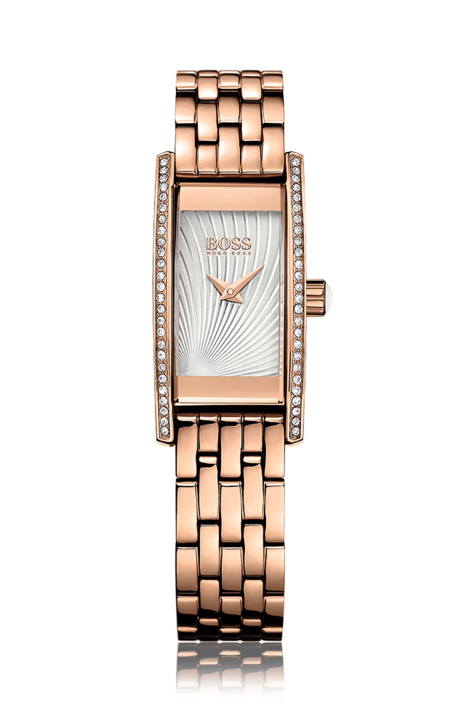 Rechteckige Armbanduhr mit Quarzwerk und Schmucksteinchen: 'Ladies Cocktail'