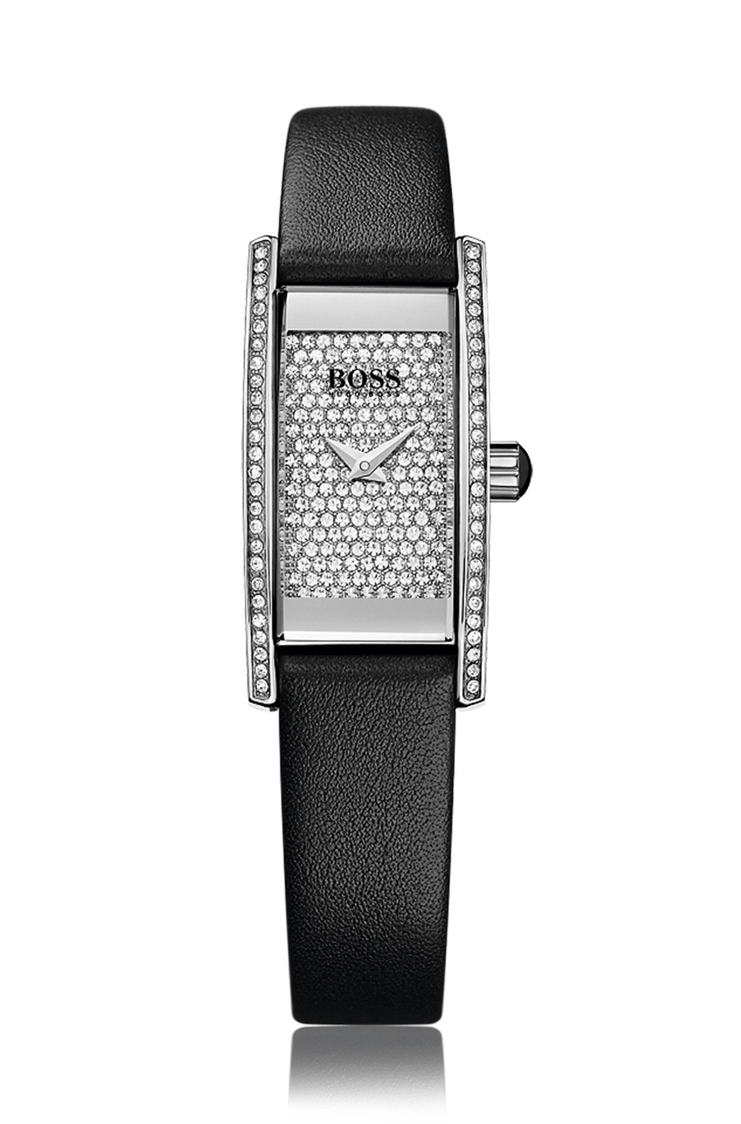 Rechteckige Full Pavé Armbanduhr mit Quarzwerk und Lederarmband: 'Ladies Cocktail'