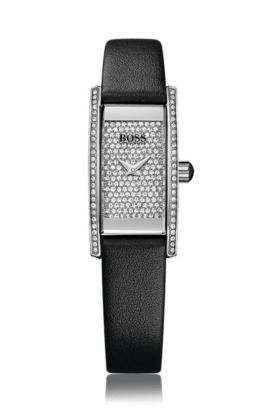 Rectangular Full Pavé watch with quartz movement and leather wristband: 'Ladies Cocktail', Assorted-Pre-Pack