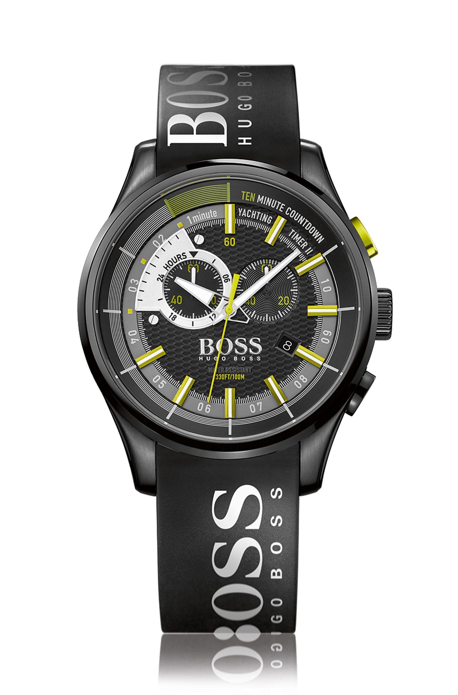 Montre chronographe régate en acier inoxydable noirci, avec fonction compte à rebours