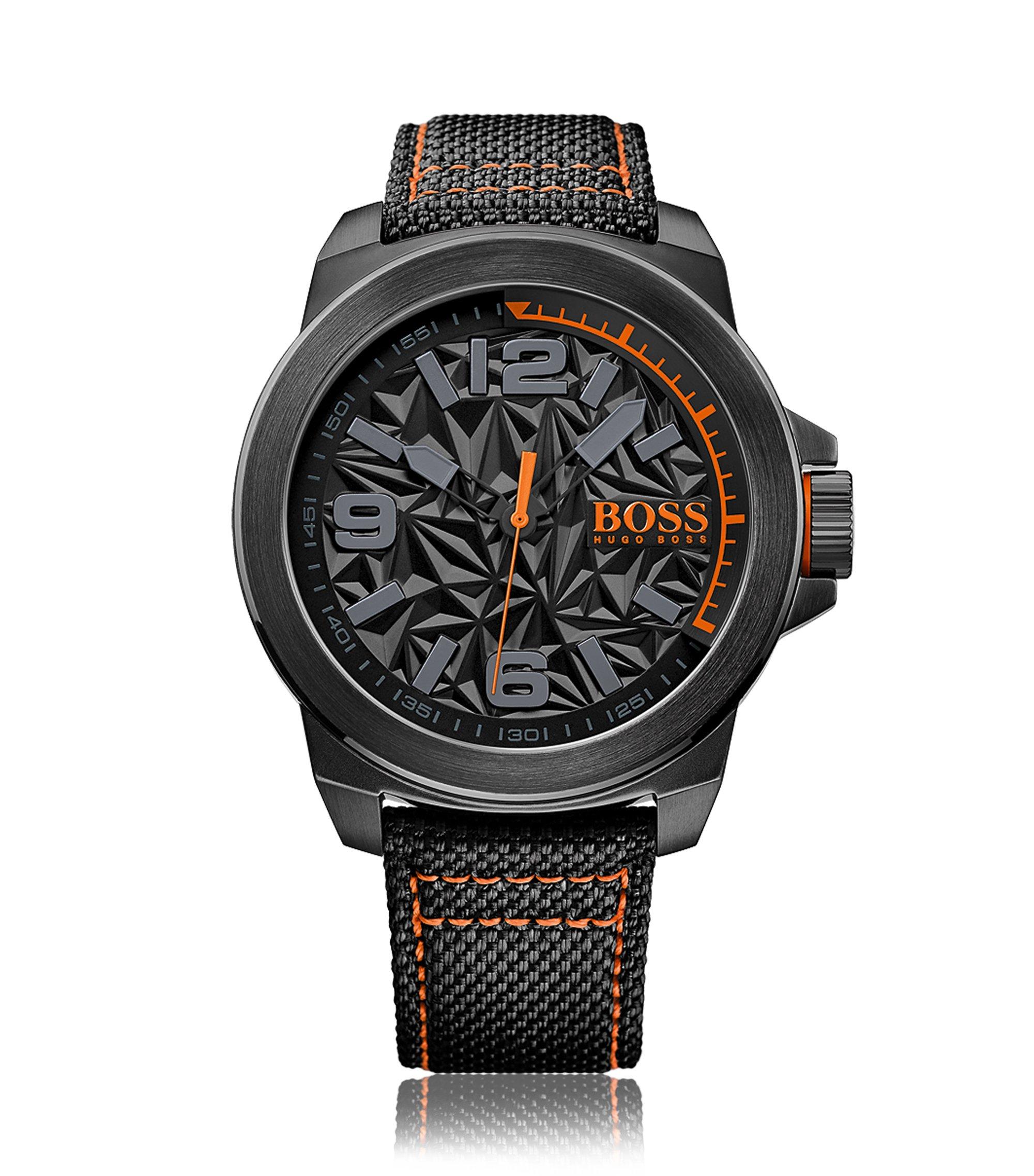 Zwart horloge van roestvrij staal met architectonische wijzerplaat en polsband van stof, Grijs