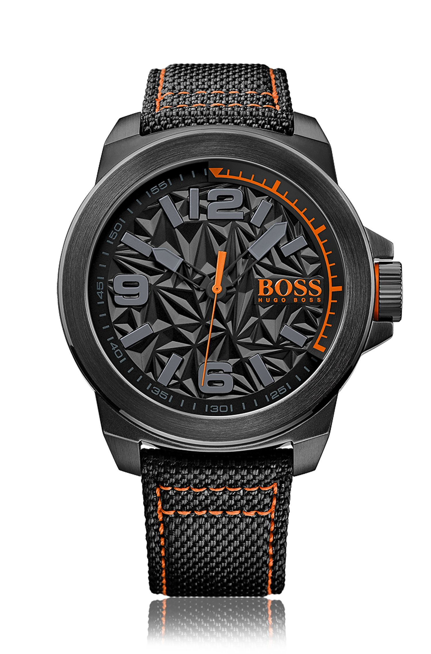 Black stainless-steel watch with architectural dial and fabric strap