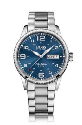 Montre-bracelet avec mouvement à quartz et affichage central des secondes: «Pilot Vintage», Assorted-Pre-Pack