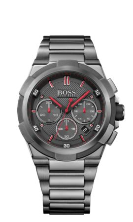 Stainless steel chronograph with night light function: 'Supernova', Grey